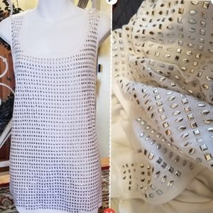 INC Size 1X Blingy White Tank
